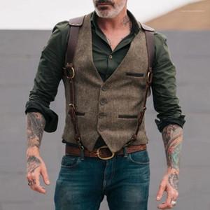Sólido temperamento dos homens Cor colete mangas Casual fashiong dos homens do vestuário Cowboy considerável Designer Mens Clothing