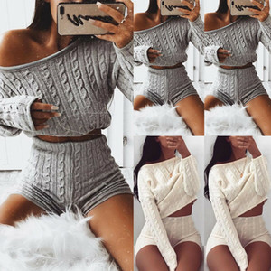 Yeni Kadınlar Örme Giyim 2 Adet Set Uzun Kollu Gevşek Crop Top Triko Yüksek Bel İnce Şort Bayanlar Casual Suit Eşofman