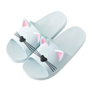Женщины Главная Обувь Нескользящие MenWomen Главная Indoors Тапочки мультфильм Cat Пол Семейные Обувь Пляж Сандалии Женская обувь