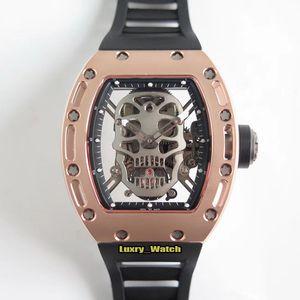 New Market Top version RM 052 EUR True Tourbillon Automatic Titanium Case RM052 Mens Watch Skull Skeleton Dial Rubber Strap Designer Watches