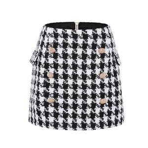 New Fashion Runway 2020 Designer Skirt Women's Metal Lion Buttons Embellished Houndstooth Tweed Mini Skirt