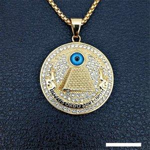 Pirámide egipcia de oro colgantes de los collares para los hombres hacia fuera helado del Rhinestone del mal de ojo de Horus regalos Cadenas de joyería
