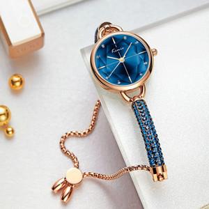 Kimio Простой Женщины часы браслет дамы кристалл алмаза браслет кварцевые часы Мода Роскошные водонепроницаемый наручные часы 2019 Новый CJ191116