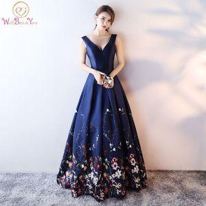 Платья партии Бургундия Цветочное платье PROM Темно-синий 2021 длинный элегантный линию без рукавов Патерн атласная вечернее платье формальная градация