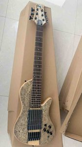 Wholesale Guitar Custom 6 Strings Electric Bass Guitar One Piece Neck Through Body 4 Pickups In Grey