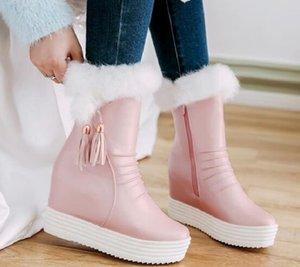 Nueva Llegada de la Venta Caliente Especiales Super Moda Influx Custom Martin Cowgirl Belleza Cuero Invierno Plus Velvet Pink Wedge Ankle Boots EU34-39