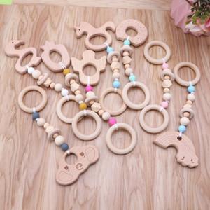 Spielen Baby Gym Nursing Cartoon Tier aus Holz Beißring Chew Perlen Zahnen Holz Rasseln Spielzeug Beißring Montessori