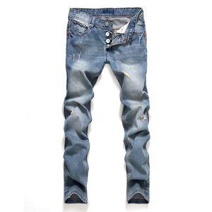 2019 Slim Fit Spring New Jeans Button Straight Style Hombre Pantalones rasgados de moda Ropa de hombre Ropa