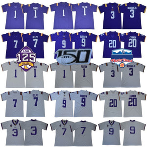NCAA LSU Tigers Jersey 9 Joe Burrow Burreaux JaMarr perseguição canhão Grant Delpit Odell Beckham Jr Fulton Fournette College Football 125TH 150 ANOS