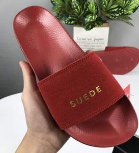 New Fashion 2019 Women Suede Slippers Princess V SM Slides Brand Designer Sandals Womens Leadcat for Ladies Black Green Red