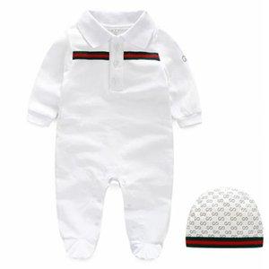 Yeni Stil Yenidoğan bebek kıyafetleri Uzun kollu tasarımcı bebek tulum Bebek giyim bebek erkek kız jumpsuits + şapka