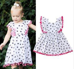 베이비 걸 드레스 플라밍고 베이비 패션 프린트 민소매 Tassels 드레스 2018 새로운 INS 키즈 드레스 유아 의류 아동 의류