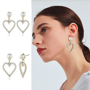 Designer cuore della perla ciondola gli orecchini europei e le donne del partito di modo orecchino di goccia gioielli americani gioielli regali di nozze