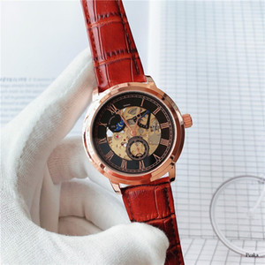 2020 classic brand Suge multi-function moon phase hollow dial leather strap mechanical movement men's business watch