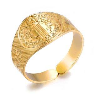 Hip Hop Jesus Rings Stainless Steel Mens Ajustable Open Ring Vintage Cross Finger Ring Vintage Punk Jewelry for Women Men