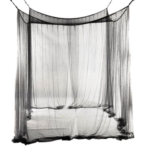 New 4-Corner Bed Netting Canopy Mosquito Net for Queen King Sized Bed 190*210*240cm (Black) Bed Mosquito Net