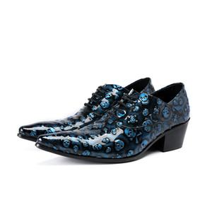 Skull Dress Shoes Plus Size 47 Uomo Formale Scarpe a punta Business in pelle verniciata Oxford scarpe da uomo