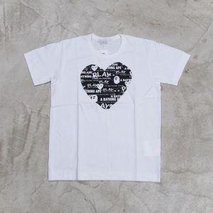 Marcas de moda homens do desenhista camisetas jogar OFF Commes algodão coração vermelho camisas des Garçons branco Homens T-shirt de verão mulheres ocasionais tees DF14