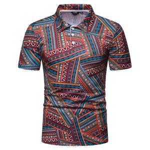 Nova camisa dos homens Tops impresso listrada de manga curta Hawaii Verão