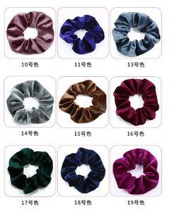 50 colores vendas niñas sólido soporte de color terciopelo anillo elástico lazos del pelo de la cola de caballo Accesorios de Moda Hairband de la goma Scrunchies