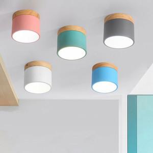 DHL Nordic Bois Fer Lumières Plafond Moderne Led Plafonnier Pour Salon Chambre Porche Aisle Couloir Luminaire Luminaires d'éclairage