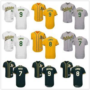 Personalizado Homens Mulheres Juventude Majestic Atletismo Jersey # 7 Walt Weiss 8 Joe Morgan 8 Jed Lowrie 9 Reggie Jackson Home Green Jerseys Baseball