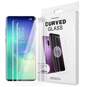 Caja por completo adhesivo respetuoso 3D curvo de vidrio templado con luz UV protector para Samsung S20 S10 Ultra Plus S9 S8 Nota 20 10 9 8 Plus