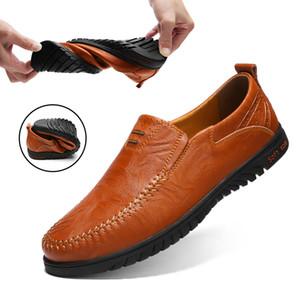 Dekarb Hombres Zapatos casuales de cuero genuino Mocasines Zapatos de hombre Zapatos cómodos de calidad Zapatos de hombre Pisos Venta caliente Mocasines Tamaño grande 37 ~ 47 MX190729