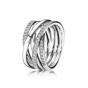 Funkelnde Polierte Linien Ring Original Kasten für Pandora Sterlingsilber 925 Frauen der Männer Hochzeit Ringe Sets Weihnachtsgeschenke Schmuck