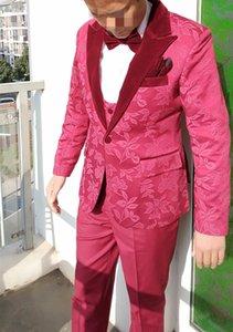 Handsome One Button Groomsmen Peak Lapel Groom Tuxedos Men Suits Wedding Prom Dinner Best Man Blazer(Jacket+Pants+Tie+Vest) W125