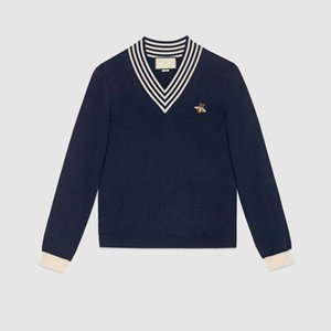 Mode Automne Hiver Pull Hommes Femmes Broderie Pull en maille Femme Pull rayé Pull col V Guc femmes Cavaliers