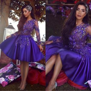 2020 Arapça Kraliyet Mor Kısa Kokteyl Mezuniyet Elbiseleri Vintage Uzun Kollu A Hattı Şeffaf Boyun Aplike Boncuklu Hüsniye Gowns BC1227