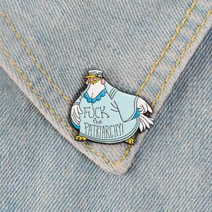 la gallina patriarcado Broche Feminista de dibujos animados insignia bolso de encargo de broches de ropa Pin de la solapa de género regalo de la joyería igualdad F