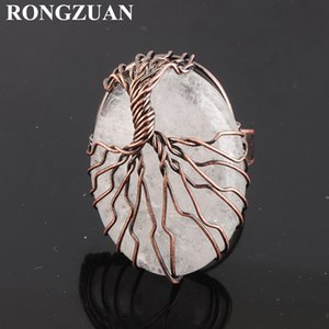 Women Solitaire Ring Natural Stone Crystal Oval Bead Adjustable Size Party Fashion Jewelry Copper Wire Wrapped Tree of Life Rings DX3060