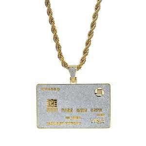 Tarjeta de VISA de diamantes de hip hop collares pendientes para hombres, mujeres, créditos de lujo, tarjeta de oro, colgantes, 18 k, chapado en oro, tarjeta de banco, collar, cadena, collar, joyería