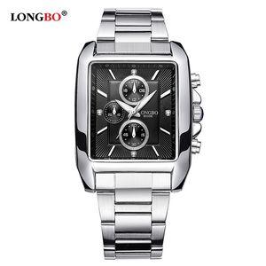 Longbo Fashion Brand Quarzo Casual Orologio da uomo Business Sport militare Acciaio Casual Water Resistant Dress orologi Relojes hombre