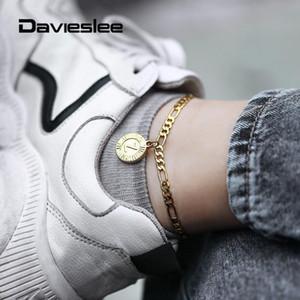 Nueva pulsera del color oro de la letra inicial redonda pendiente del encanto de 5 mm de acero inoxidable Eslabones Figaro pulsera para el tobillo para las mujeres LKA11