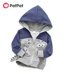 PatPat 2020 New Spring And Autumn Trendy Cartoon 3D Animal Dino Design Hooded Coat Kids Boy Jackets & Coats Clothes0RNg#