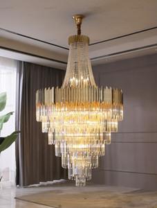 D100 / 120cm 현대 대형 크리스탈 LED 샹들리에 골드 럭셔리 빌라 계단 거실 호텔 로비 아파트 펜던트 램프 조명 매달려 램프