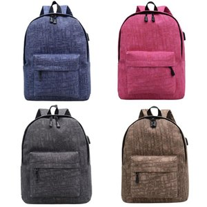Unisex Canvas Laptop Backpack External USB Charge School Computer Backpacks