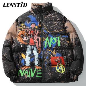 LENSTID 2019 Hip Hop pintada de la historieta Streetwear invierno acolchada chaqueta de la capa del abrigo esquimal de los hombres de la vendimia Outwear rompevientos Harajuku Puffer