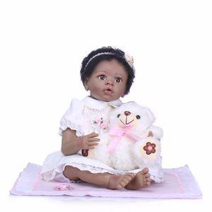 Bebe Reborn 22 Inç Bebekler 55 cm Yumuşak Silikon siyah Bebek Reborn Bebekler ile Pamuk Vücut Gerçekçi Doll Reborn Bebekler Oyuncaklar Kızlar için plamatrs