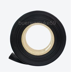 25M Diameter 30mm Flat Width 50mm Black Heat Shrink Tube Electrical Sleeving Cable Heat Shrink Tubing Wrap 2:1 Shrinkable Ratio Wholesale