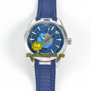 GB Best-versione Aqua Terra 150m Series 220.12.43.22.03.001 tempo del mondo Quadrante Blu 8939 Mechanical Mens Watch Acciaio-Casi Sapphire Sport-Orologi da polso
