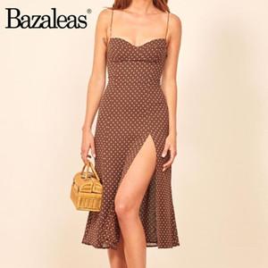 Bazaleas Retro Chic i vestiti sottili vestito sexy marrone Dot Stampa Split vestidos Vintage Top senza spalline donne vestito elegante usura di notte