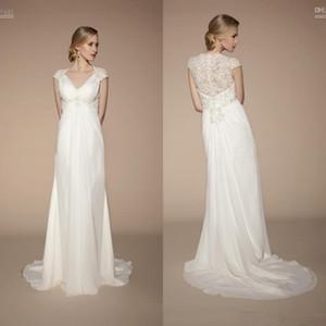 2020 classique plage empire robes de mariée de maternité Cap Sleeve v-cou cristaux perles ivoire dentelle mousseline élégante robes de mariée sur mesure