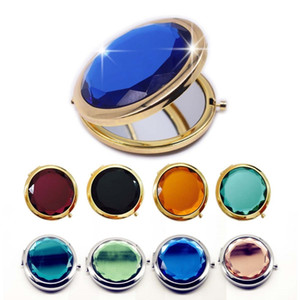1pc Crystal Makeup Mirror Portable Round Folded Compact Mirrors Gold Silver Pocket Mirror Making Up For Personalized Gift