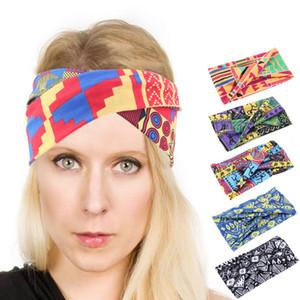 Sıcak satış Afrika Desen Ankara Turban Vintage Kafa Elastik Saç Aksesuarları çevirin Kadınlar Plajı için Pamuk Headband yazdır