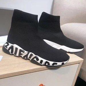 Hochwertige neue Geschwindigkeit Luxus Sneaker Männer Frauen Designer-Schuhe 3D stricken Socken Stiefel Graffiti Sohle Trainer mit dem Kasten Staubbeutel