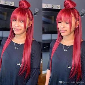 Бахрома парик с челкой для чернокожих женщин красный кружевной фронт моделирование человеческих волос парики цветной челка парик 99j бордовый синтетический Кружевной фронт парик